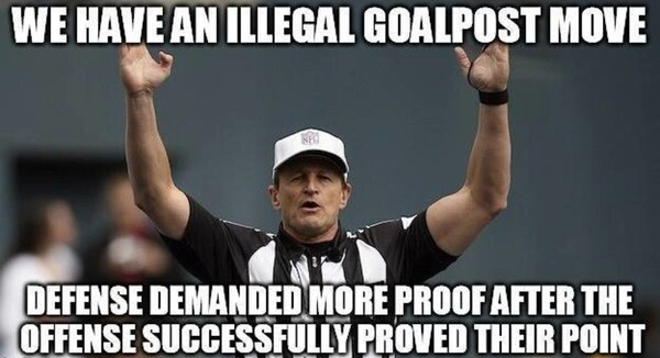 Argument goal post move referee