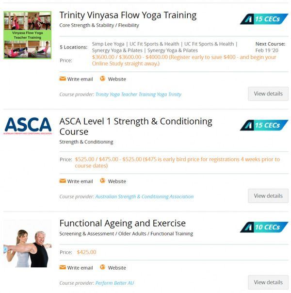 Fitness Australia CEC options