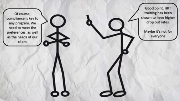 Two stick figures arguing about misconceptions in exercise and nutrition