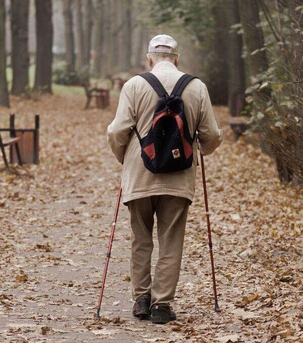 an older man walking with two sticks